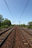 Receding railway tracks Stock Photo