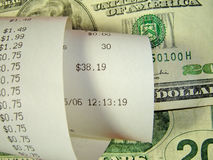 Receipt. And money (close-up Royalty Free Stock Photography