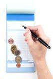 Receipt Book Fountain Pen and coin Stock Photos