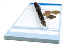 Receipt Book Fountain Pen and Fountain Pen Royalty Free Stock Photography