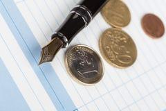 Receipt Book Fountain Pen and Fountain Pen Stock Photo