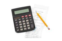 Receipt and calculator Royalty Free Stock Photos