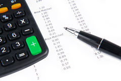 Receipt calculator and pen Stock Image