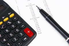 Receipt calculator and pen Royalty Free Stock Image