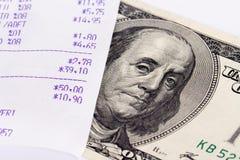 Receipt and Dollar Bill Royalty Free Stock Photo