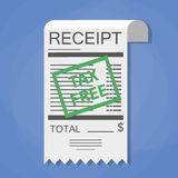 Receipt with green tax free stamp Stock Image