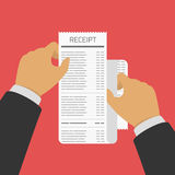 Receipt in hand. Hand holding Receipt. Businessman hold receipt bill paper flat design on red background. Banking operations, Business and finance concept Stock Image