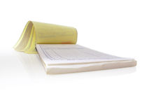Receipt Pad. Isolated and open to a blank page Royalty Free Stock Image