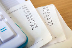 Receipt paper and caculator, payment Stock Photos