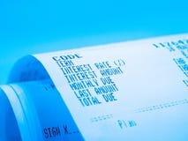 Receipt paper. A description of interest rate Stock Photos