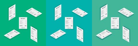 Receipt paper, Isometric, Bill check, Invoice, Cash receipt, Payment of utility, Vector, Flat icon, Icon pack, Icon set vector illustration