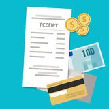 Receipt printed paper shopping price retail money cash and coin. Vector Stock Images