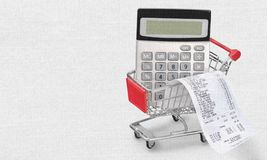 Receipt. Budget food consumerism calculator cart photography Royalty Free Stock Photos