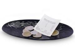 Receipt, Tax invoice and Money tips Stock Photo