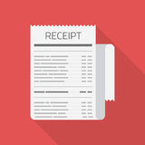 Receipt vector icon on red. Royalty Free Stock Photo