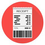 Receipt, white receipt with barcode on red background with shadow. Flat design,  illustration Stock Photos