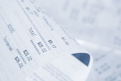 Receipts. Closeup of receipts, shallow focus Royalty Free Stock Images
