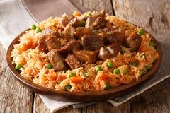 A receita autêntica do arroz mexicano picante cozinhou com tomates, gre fotografia de stock