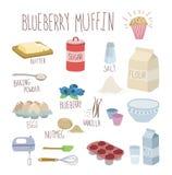Receita do muffin de blueberry Imagens de Stock Royalty Free