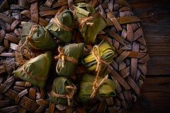 Receita glutinosa das bolinhas de massa do arroz pegajoso de Zongzi Imagens de Stock