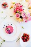 Receita romântica do alimento da sobremesa do restaurante fotos de stock royalty free
