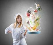 Receita saboroso de um cozinheiro chefe Fotografia de Stock Royalty Free