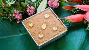 Receita tailandesa da sobremesa do creme do feijão de Mung foto de stock
