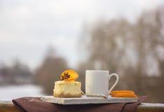 Receita tradicional do bolo do inverno do bolo de queijo do Natal Fatia do bolo de queijo imagens de stock royalty free