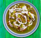 Receita verde de México dos verdes de Chilaquiles fotos de stock