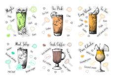 Receitas diferentes do cocktail do esboço Mojito, Pina Colada, café irlandês e outro Vetor imagens de stock royalty free