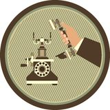 Receive a call. Human hand picks up the phone to answer the call illustration in retro style logo in the circle stock illustration