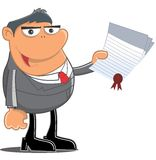 Receive a certificate. A person receives a certificate Stock Photo