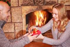 Receive Christmas gift Stock Images