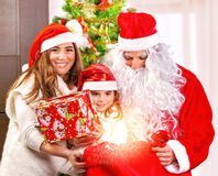 Receive Christmas present Royalty Free Stock Image