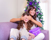 Receive Christmas present Stock Photography