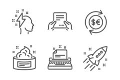 Receive file, Brainstorming and Money currency icons set. Typewriter, Skin cream and Startup rocket signs. Vector. Receive file, Brainstorming and Money currency vector illustration