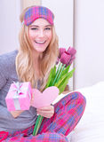 Receive gifts on Valentine's day Stock Photography