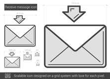 Receive message line icon. Receive message vector line icon isolated on white background. Receive message line icon for infographic, website or app. Scalable Stock Image