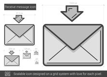 Receive message line icon. Receive message vector line icon isolated on white background. Receive message line icon for infographic, website or app. Scalable Royalty Free Stock Photo