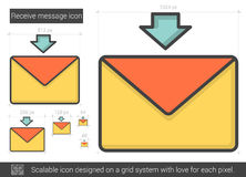 Receive message line icon. Receive message vector line icon on white background. Receive message line icon for infographic, website or app. Scalable icon royalty free illustration