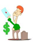 Receive money. A person receives additional money Royalty Free Stock Photos