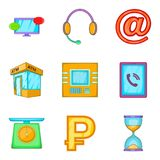 Receive money icons set, cartoon style. Receive money icons set. Cartoon set of 9 receive money vector icons for web isolated on white background Royalty Free Stock Image