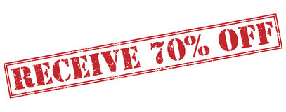 Receive 70 percent off red stamp. On white background Royalty Free Stock Images