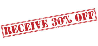 Receive 30 percent off red stamp. On white background Stock Photography