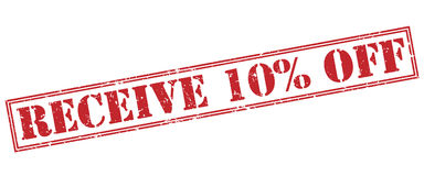 Receive 10 percent off red stamp. On white background Royalty Free Stock Photos