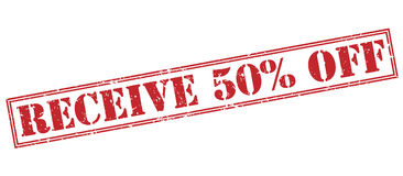 Receive 50 percent off red stamp. On white background Stock Image