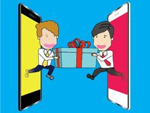 Receive smile from another man off out phone. Human in uniform take out from a smart phone receive smile from another man off out phone. Vector illustration Royalty Free Stock Images