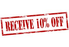 Receive ten percent off. Rubber stamp with text receive ten percent off inside,  illustration Royalty Free Stock Photo