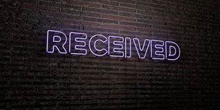 RECEIVED -Realistic Neon Sign on Brick Wall background - 3D rendered royalty free stock image Stock Photo