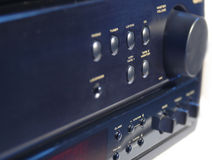 Receiver. Closeup of a sphosticated receiver front panel. Various buttons with labels, horizontal middle two rows are in sharp focus Stock Photos